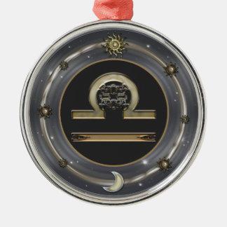 天秤座の(占星術の)十二宮図の印 シルバーカラー丸型オーナメント