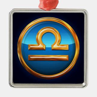 天秤座の(占星術の)十二宮図の印 メタルオーナメント