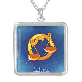 天秤座の(占星術の)十二宮図の正方形のネックレス シルバープレートネックレス