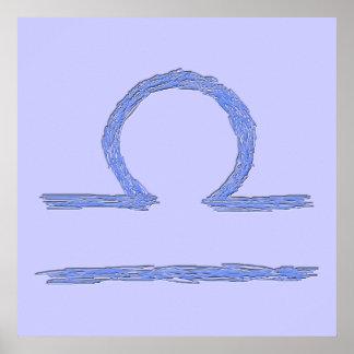 天秤座。 (占星術の)十二宮図の占星術のな印。 青い ポスター