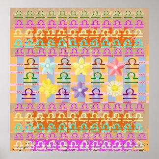 天秤座: (占星術の)十二宮図の誕生の記号 ポスター