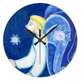 天空の存在の天使の民芸の装飾 ラージ壁時計
