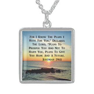 天空の日の出のジェレミアの20:11の詩 スターリングシルバーネックレス