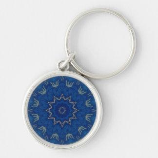 天空の青い曼荼羅のkeychainの小さい円形の報酬 キーホルダー