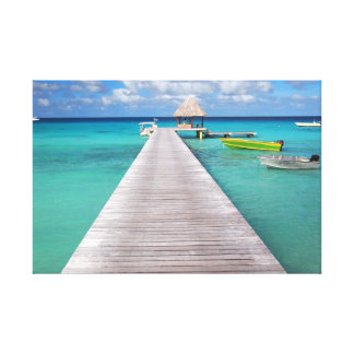 太平洋のキャンバスの突堤のボートは印刷します キャンバスプリント