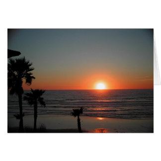 太平洋のビーチのサンディエゴの日没 カード
