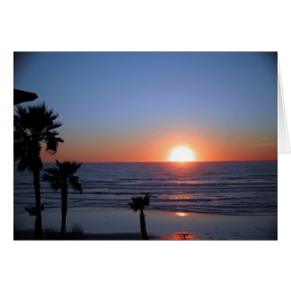 太平洋のビーチ2のサンディエゴの日没 カード