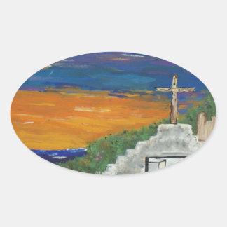 太平洋のメキシコ教会 楕円形シール
