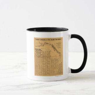 太平洋の北西地図のサーモンピンクの缶詰工場 マグカップ