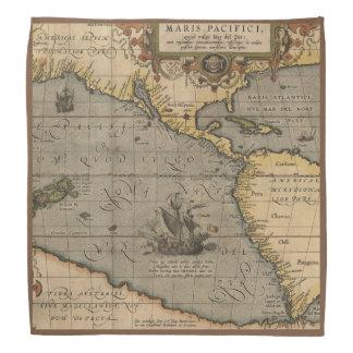 太平洋の旧式な地図 バンダナ