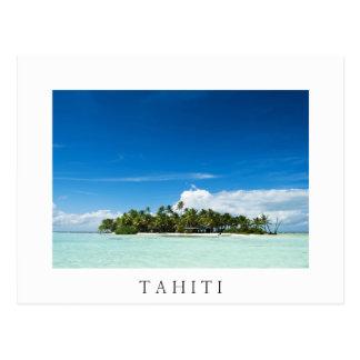 太平洋の白い文字の郵便はがきの無人島 ポストカード
