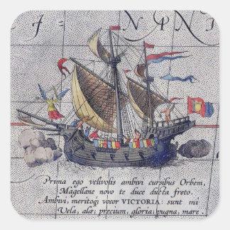 太平洋の高い船そして地図 スクエアシール