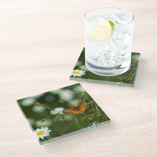 太平洋のFritillaryの蝶 ガラスコースター