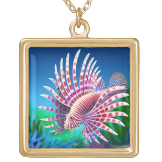 太平洋礁のミノカサゴのネックレス ゴールドプレートネックレス