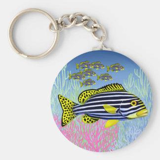 太平洋礁の東洋のSweetlipsの魚Keychain キーホルダー