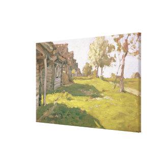 太陽に照らされた日。 小さい村1898年 キャンバスプリント
