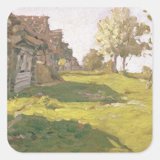 太陽に照らされた日。 小さい村1898年 スクエアシール