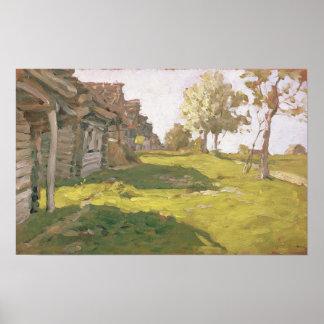 太陽に照らされた日。 小さい村1898年 ポスター