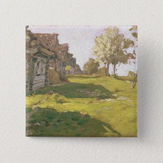 太陽に照らされた日。 小さい村1898年 5.1CM 正方形バッジ