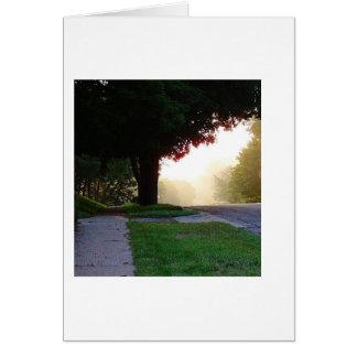 太陽に照らされた朝の歩行カード カード