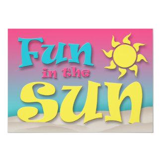 太陽のビーチのパーティの招待状のおもしろい 12.7 X 17.8 インビテーションカード