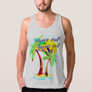 太陽はビーチの夏のおもしろいのワイシャツを撃ちます タンクトップ
