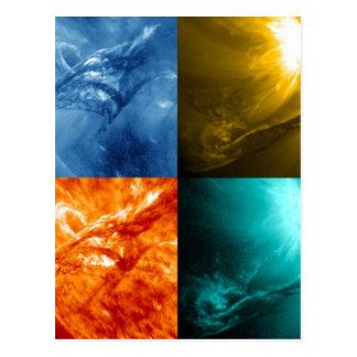 太陽フレアかCoronalの多くの放出の日曜日のコラージュ ポストカード