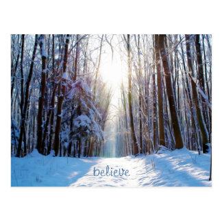 太陽光線が付いている雪そして木 ポストカード