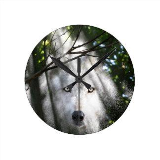 太陽光線のオオカミの顔 ラウンド壁時計