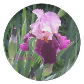 太陽接吻されたピンクのアイリス庭のディナー用大皿 プレート