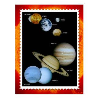 太陽系のスタンプのデザイン ポストカード