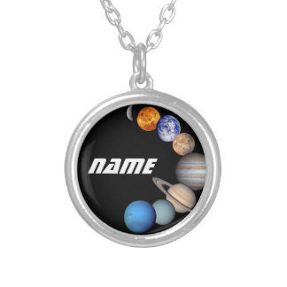 太陽系のモンタージュJPLの写真-名前をカスタマイズ シルバープレートネックレス