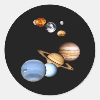 太陽系の惑星のステッカー ラウンドシール