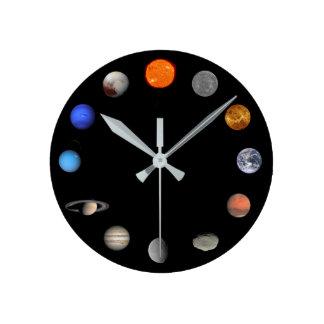 太陽系の柱時計 ラウンド壁時計