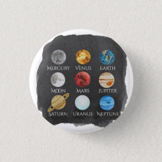 太陽系の水彩画ボタン 3.2CM 丸型バッジ