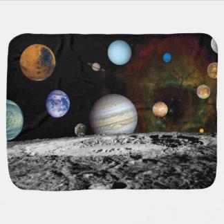 太陽系の航海者のイメージのモンタージュの宇宙の写真 ベビー ブランケット