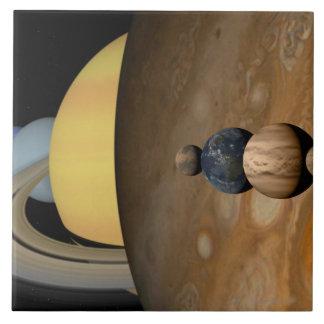 太陽系の9つの惑星のイラストレーション タイル