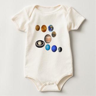 太陽系の9つの惑星。 水星、金星、 ベビーボディスーツ