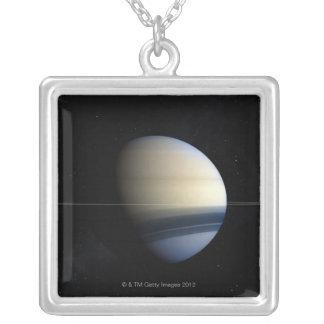 太陽系、クローズアップ2の土星の惑星 カスタムネックレス