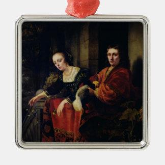 夫および妻1654年のポートレート メタルオーナメント