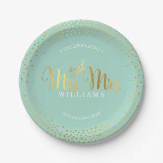 夫人及びSTYLISH WEDDING TABLE夫人の紙吹雪の金ゴールドのミント ペーパープレート