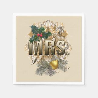 夫人。 初めてのクリスマス スタンダードカクテルナプキン