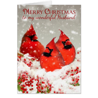 夫、油は冬の赤い(鳥)ショウジョウコウカンチョウを絵を描きました カード