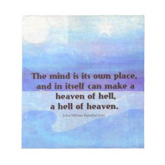 失った感動的なミルトンの引用文の楽園 ノートパッド