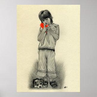 失恋の男の子の子犬ポスター ポスター