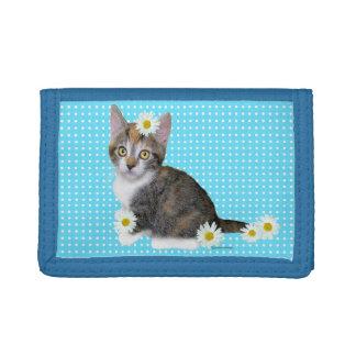 失敗のデイジーの青い三重ナイロン財布