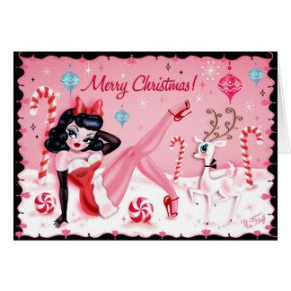 失敗の綿毛によるかわいいクリスマスのピンナップの人形カード カード
