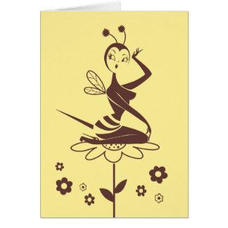 失敗の綿毛による蜂の女の子カード グリーティングカード