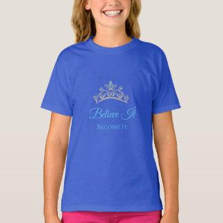 失敗アメリカ米国の女の子はそれに大きいティアラの上を信じます Tシャツ