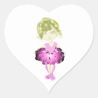 失敗適合のピンクのバレエダンサーの女の子 ハートシール